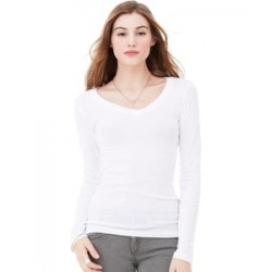 Bella + Canvas Long Sleeve Sheer Rib Longer Length V-Neck T-Shirt (woman)