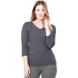 Bella + Canvas Missy 3/4 Sleeve Jersey V-neck T-Shirt (woman)